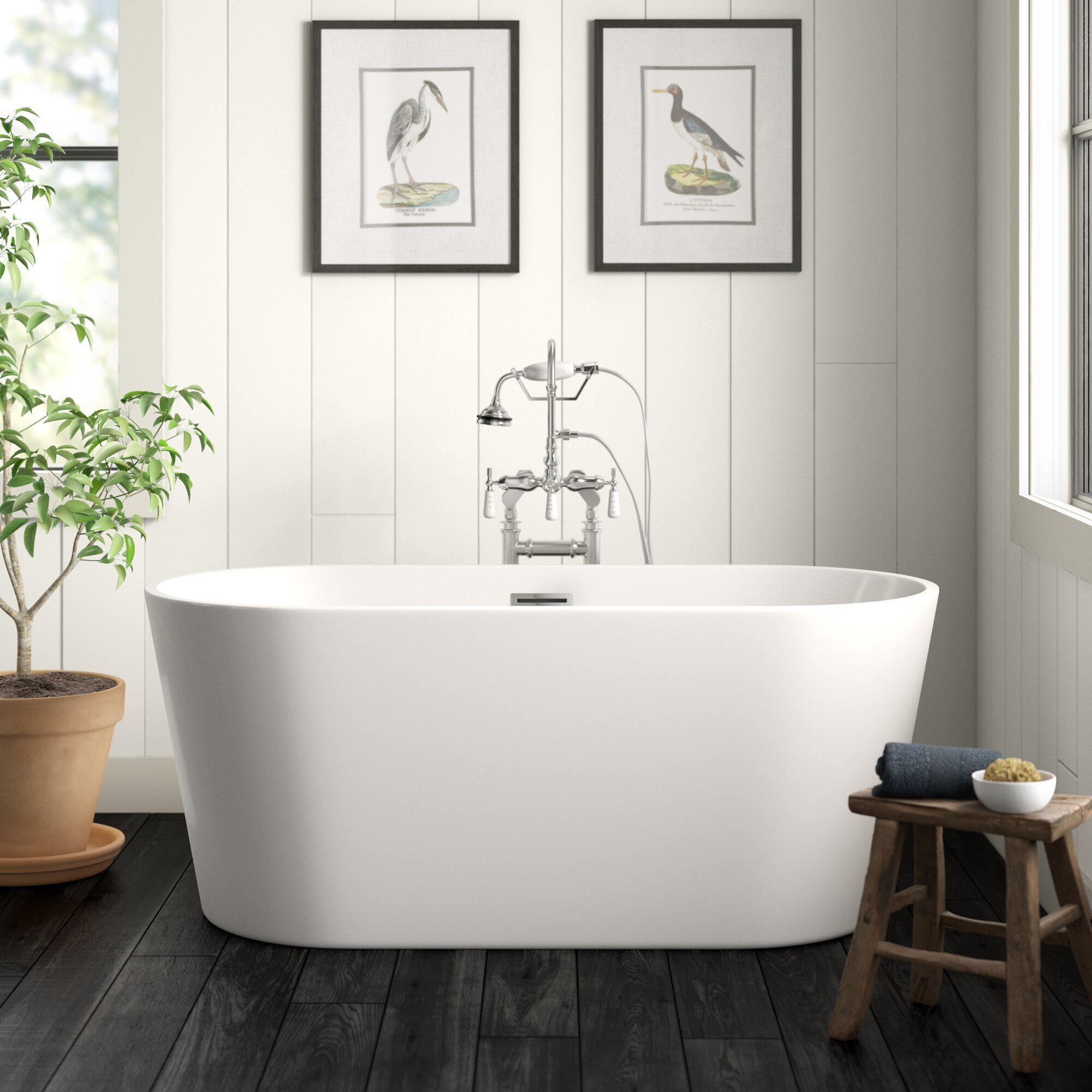 """59"""" x 30"""" Freestanding Soaking Acrylic Bathtub"""