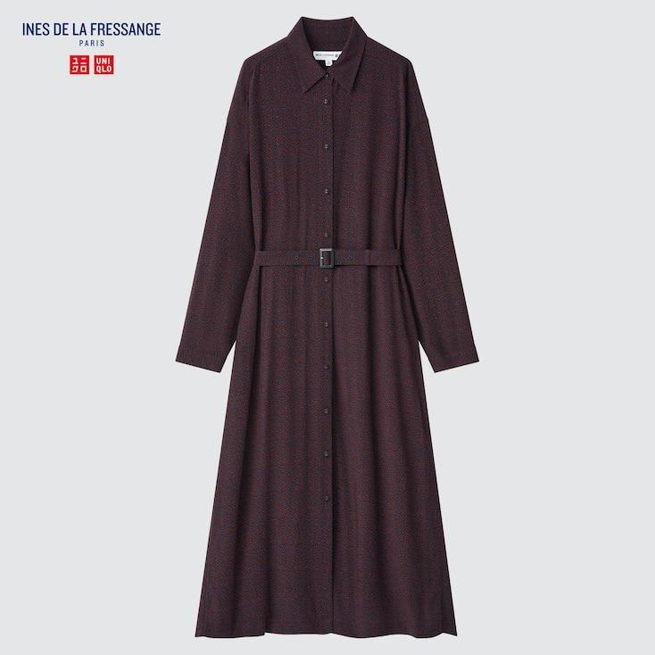 x Ines de la Fressange Women Rayon Printed Long-sleeve Shirt Dress