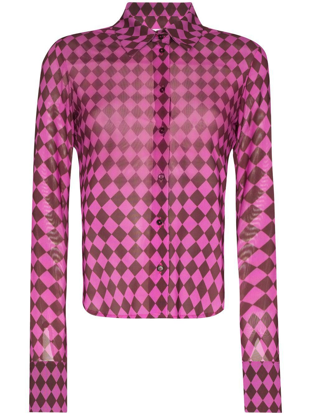 Argyle-print Buttoned Shirt