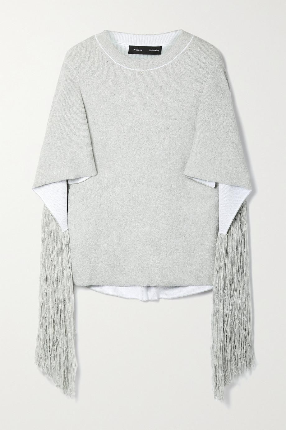 Cape-effect Fringed Cotton-blend Sweater