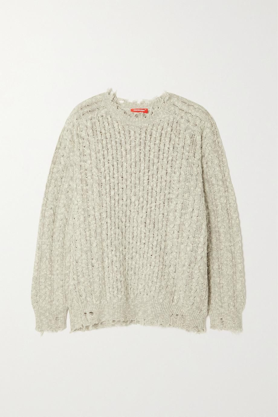 Distressed Cable-knit Cotton Sweater