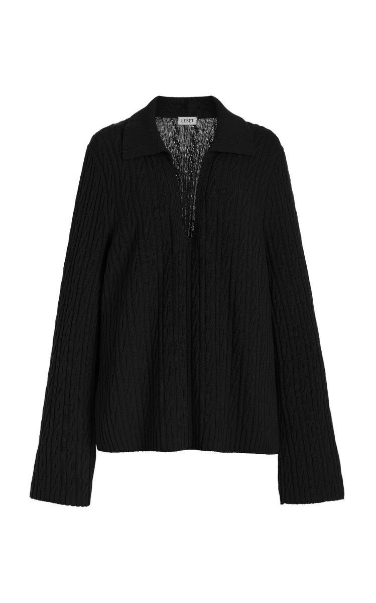 Zoe Cable-knit V-neck Wool-blend Sweater