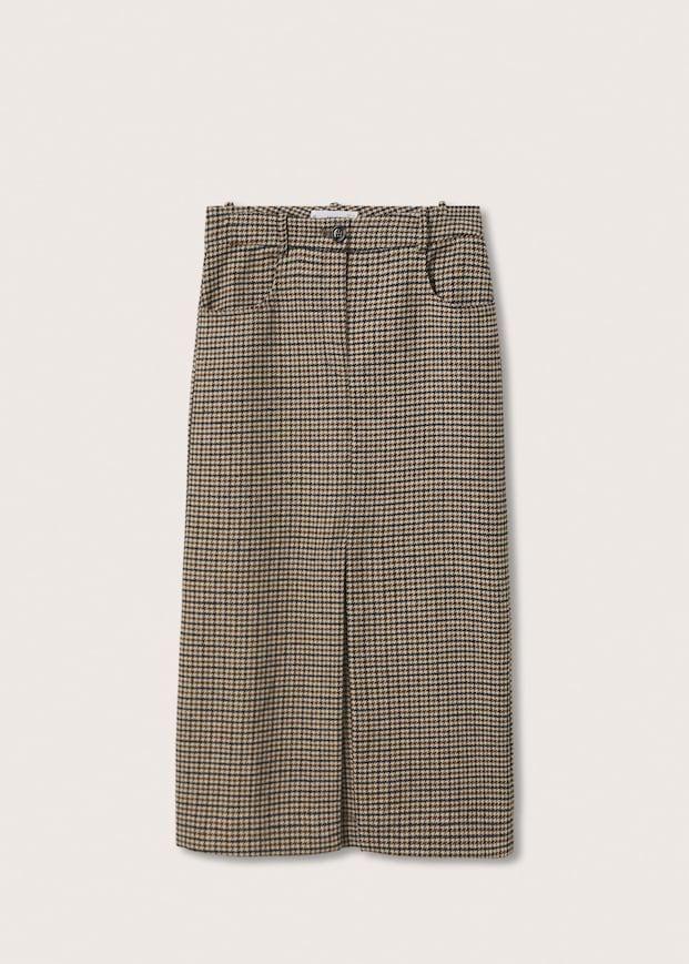 Houndstooth Slit Skirt