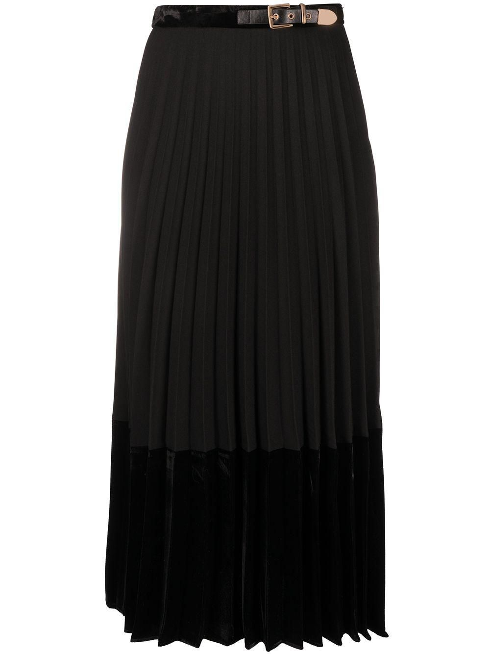 Velna Velvet Panelled Mid Length Skirt