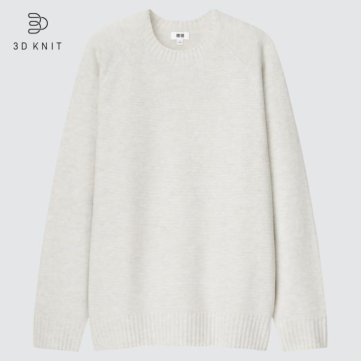 3D Souffle Yarn Crew Neck Long-sleeve Sweater