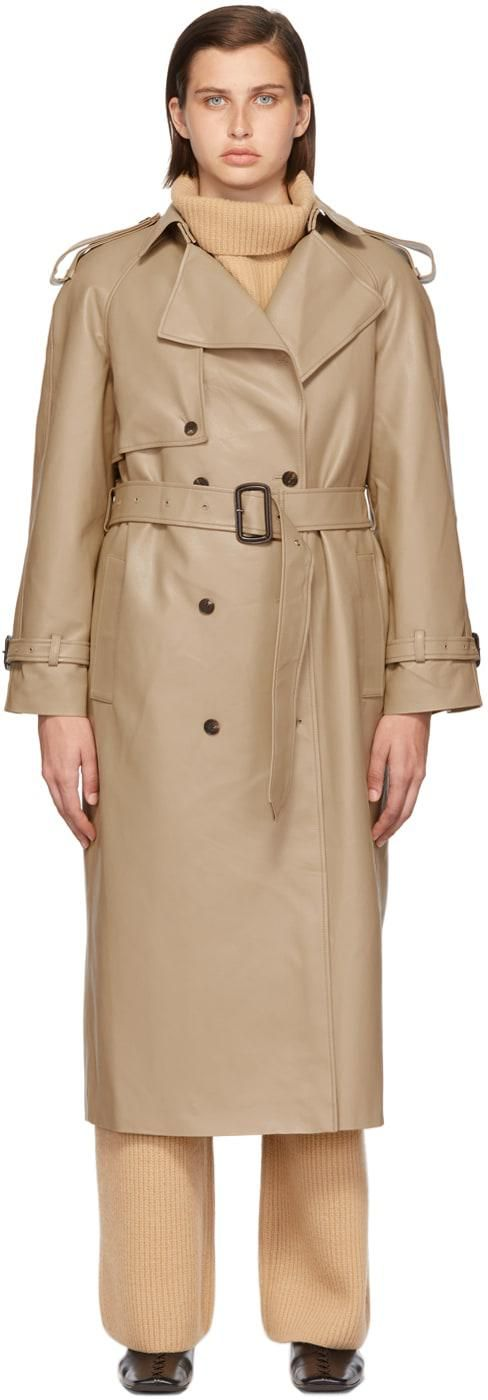 Beige Faux Leather Trench Coat