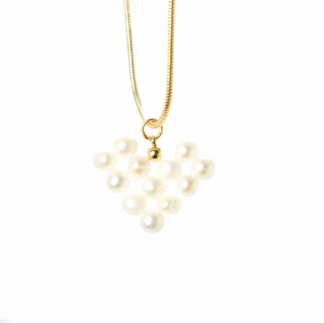Precious Pixel Heart Necklace - Freshwater Pearl