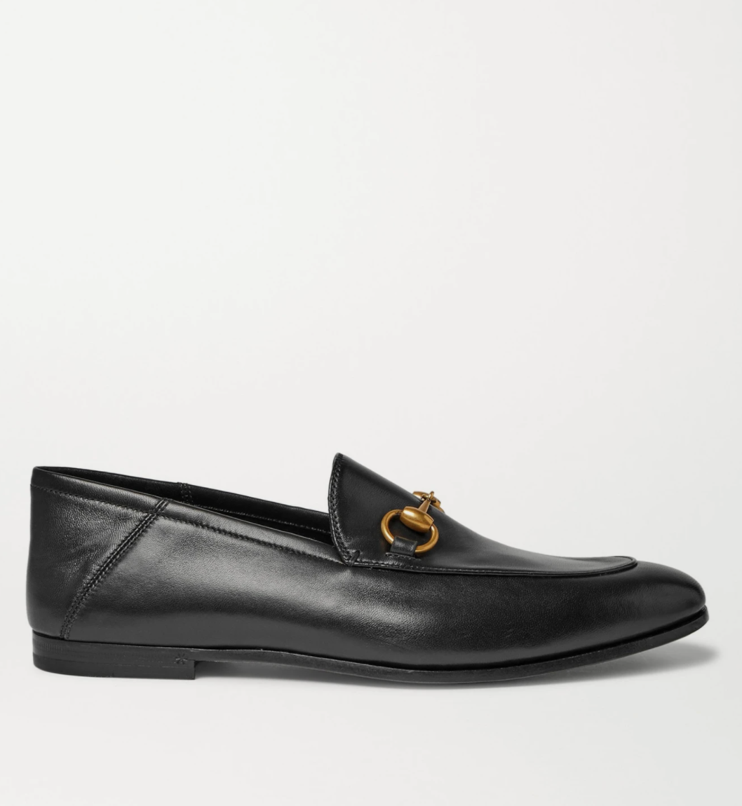 Brixton Horsebit Collapsible-Heel Leather Loafers