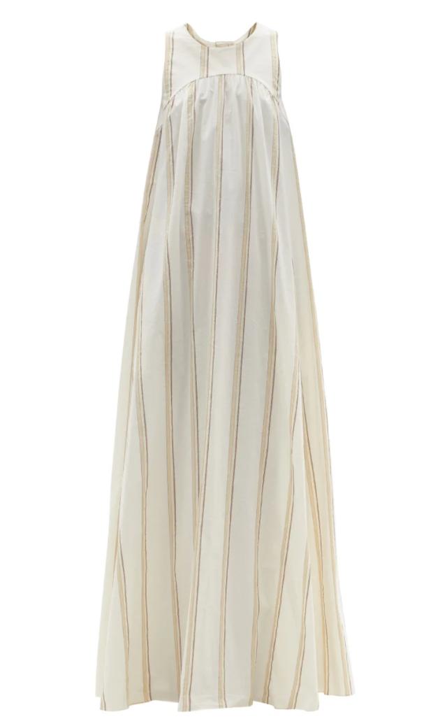 Puglia Tie-back Striped Cotton-blend Maxi Dress