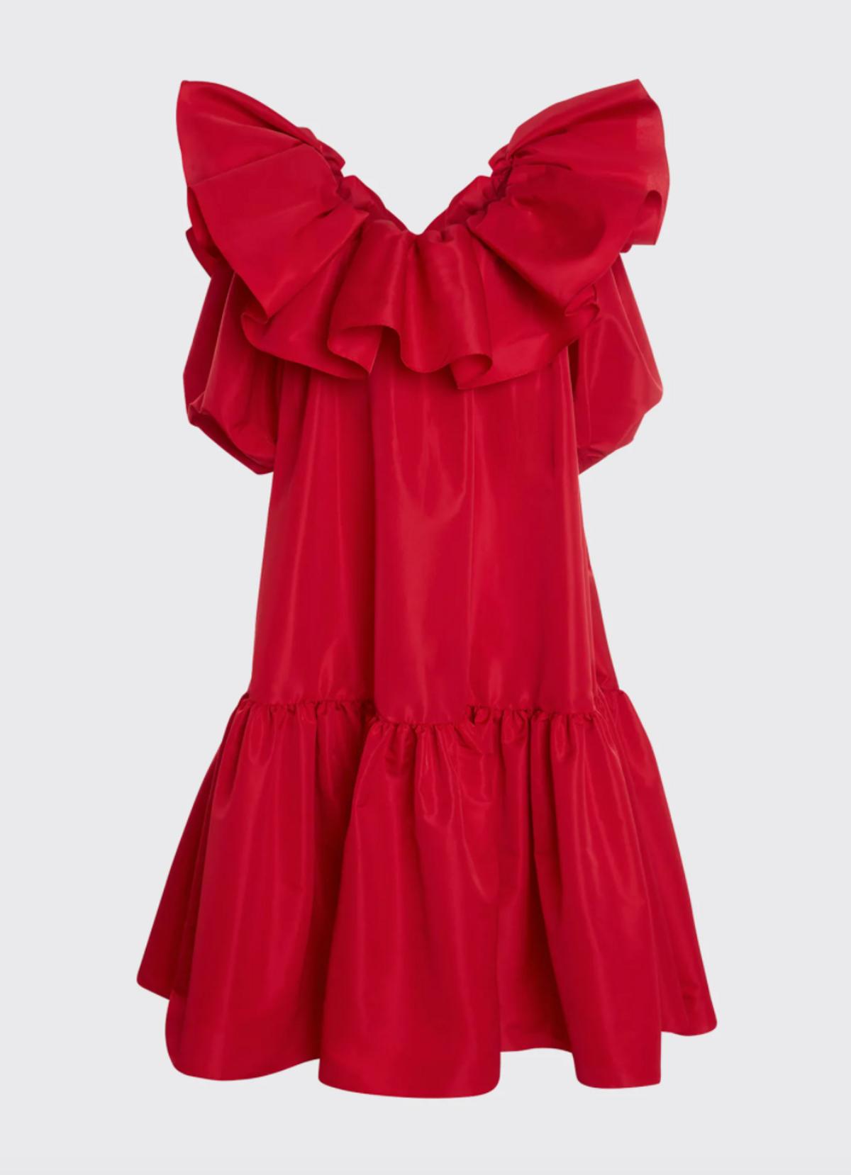 Exploded-Ruffle Trapeze Midi Dress