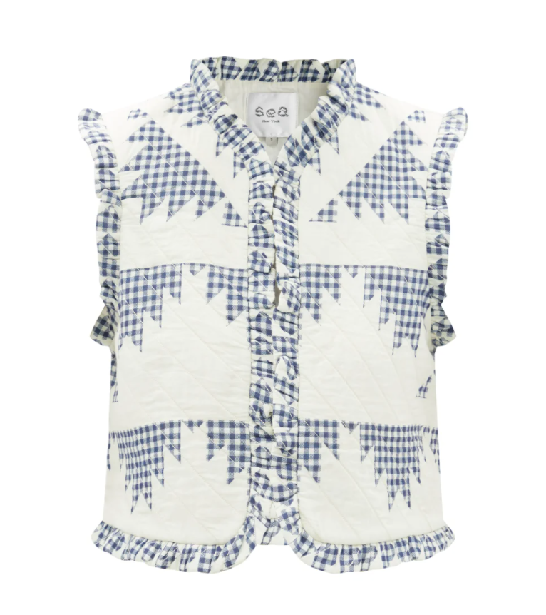 Gloucester Patchwork Gingham Quilted Cotton Gilet
