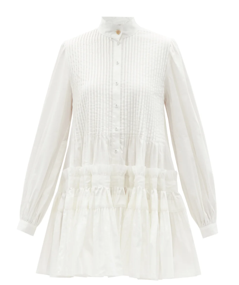 Run Free Pintucked Cotton Mini Dress