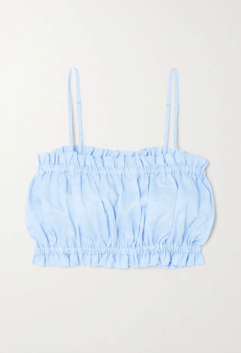Rose Cropped Gathered Linen Camisole