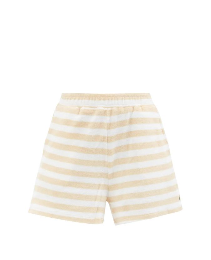 Makai Christina Striped Cotton-blend Terry Shorts