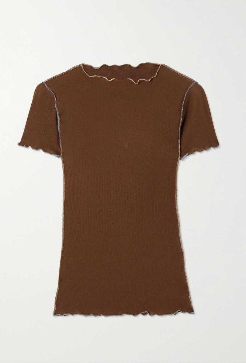 Vein Ruffled Ribbed Organic Cotton T-shirt