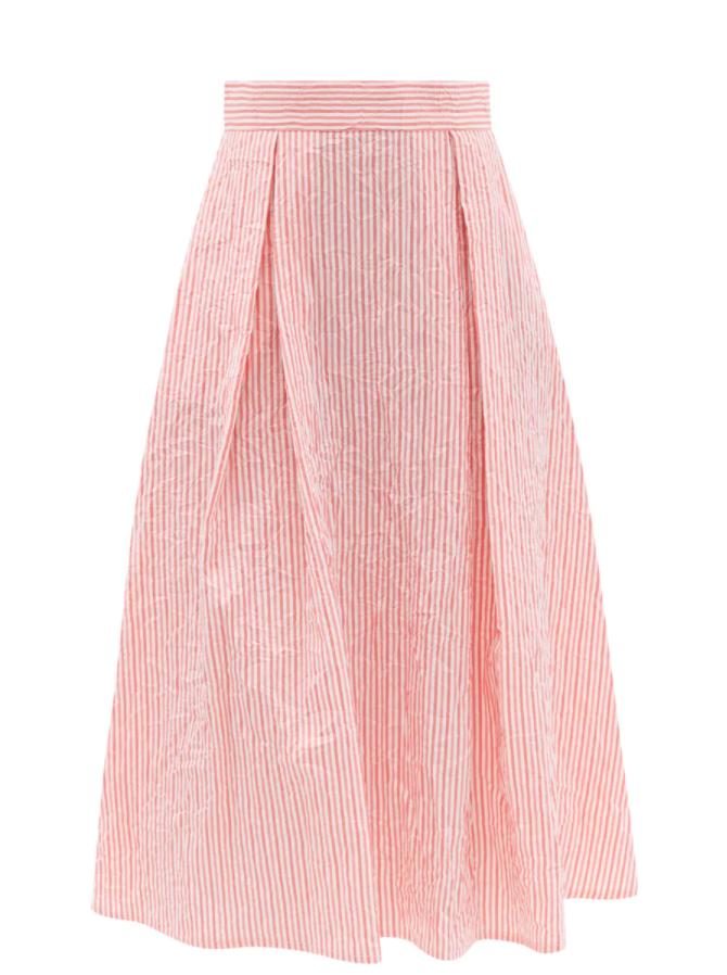 Wynona Crinkled Stripe Cotton-sateen Midi Skirt