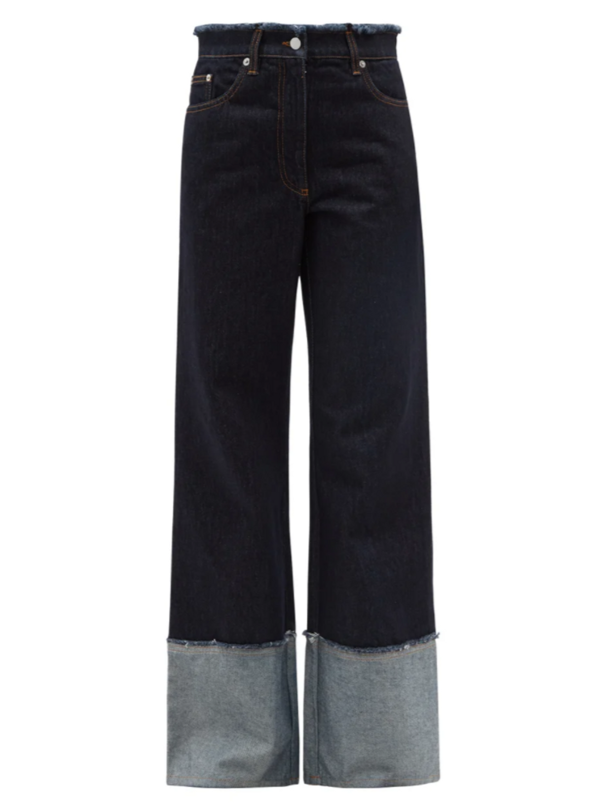 Logo-embroidered Raw Edge Wide-leg Jeans