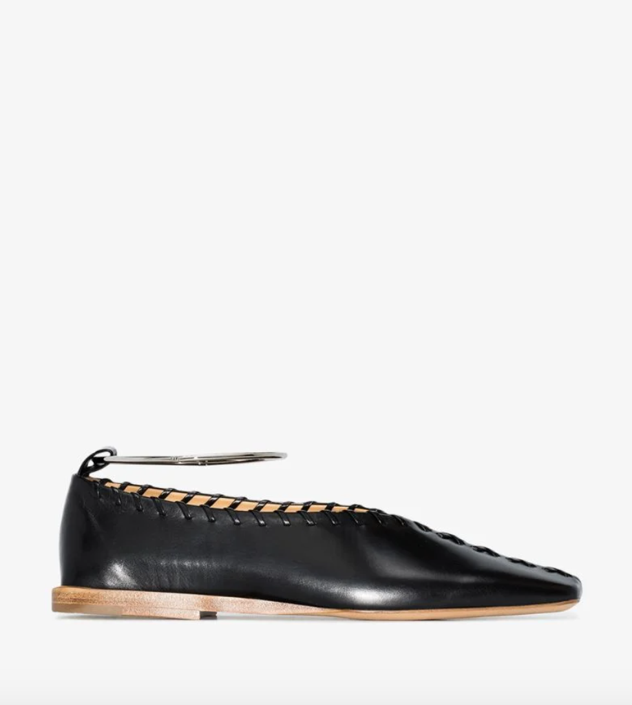 Black Anklet Stitched Leather Pumps