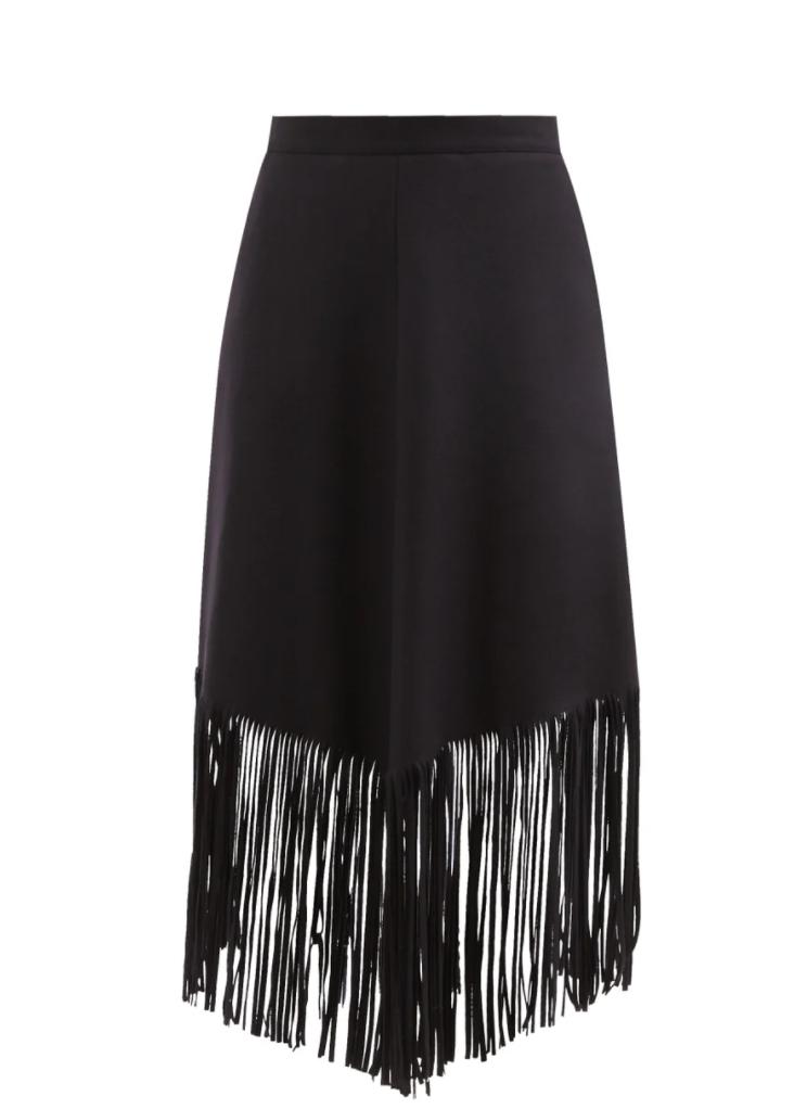 Carmelia Fringed-hem Felted Wool-blend Skirt