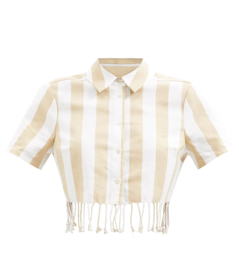 Sands Fringed Cropped Cotton-blend Twill Shirt