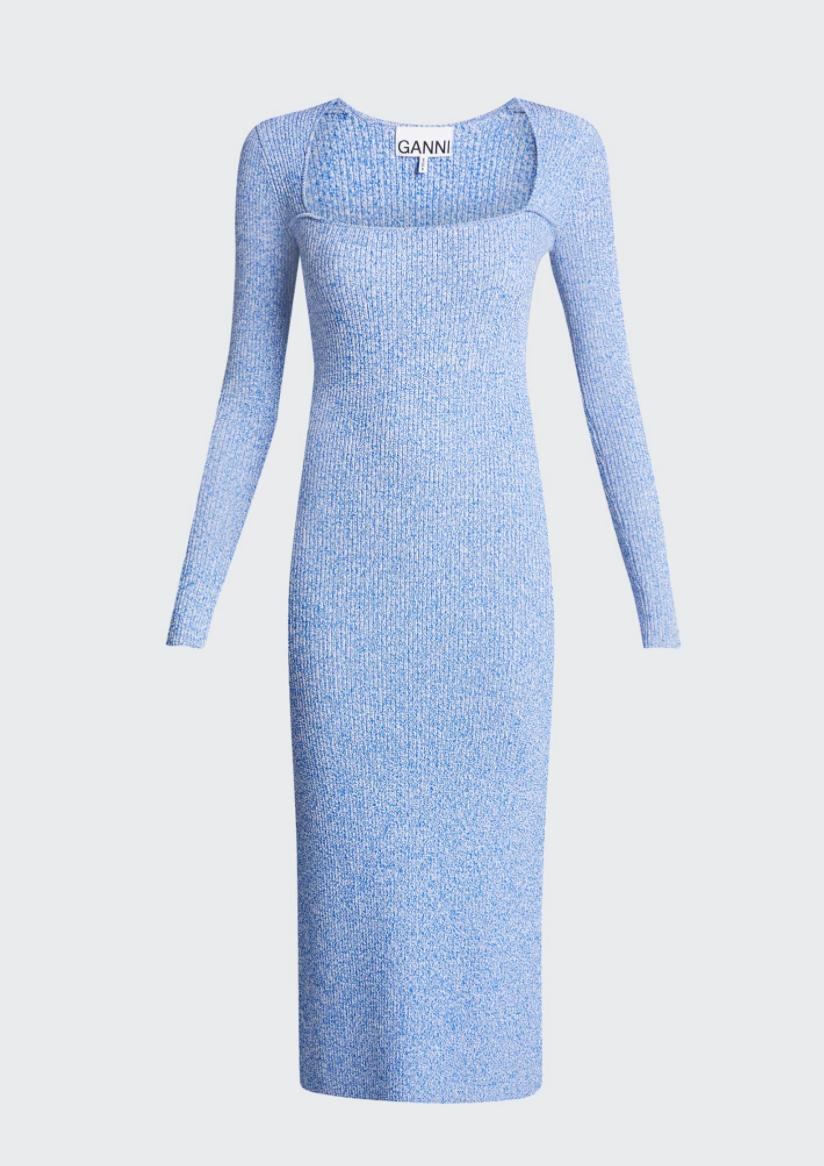 Melange-knit Long-sleeve Midi Dress