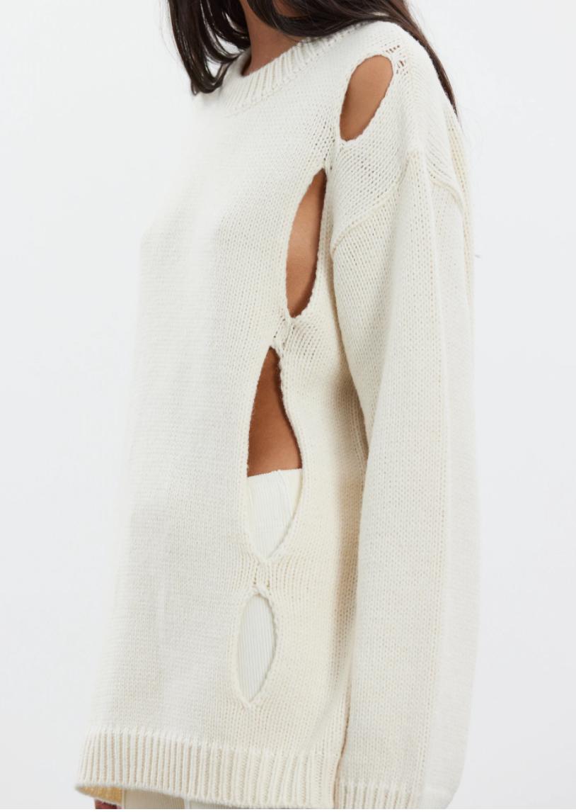 Diagonal Cut-out Sweater