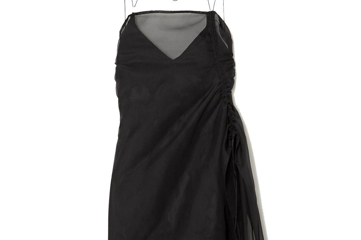 ioannes camilla ruched organza and stretch silk mini dress