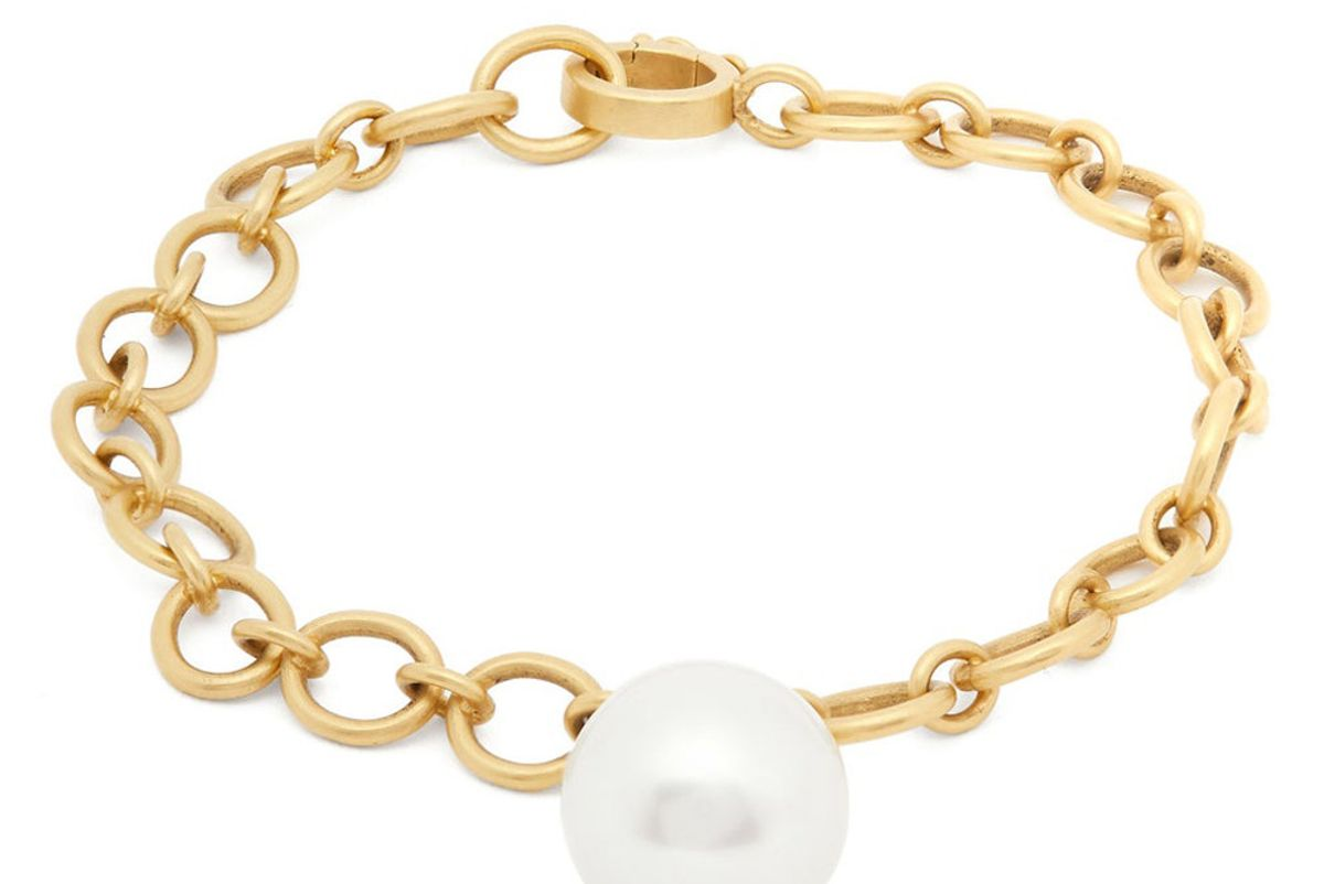 irene neuwirth south sea and 18kt gold link bracelet