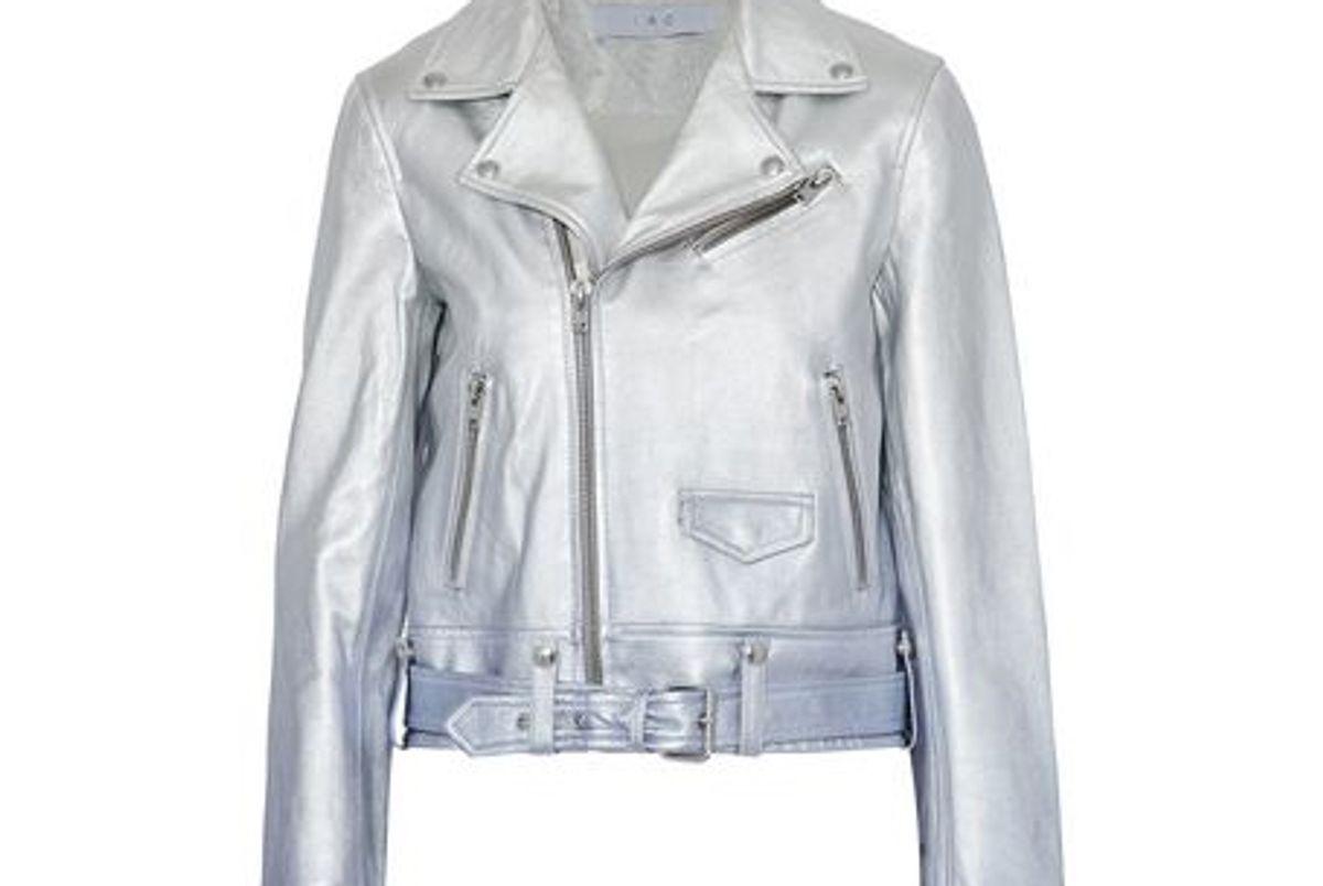 iro calum metallic degrade leather biker jacket