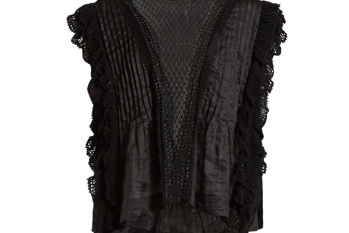 isabel marant roya lace insert voile blouse