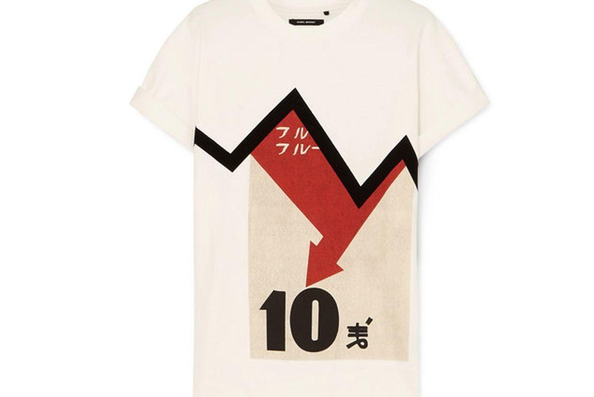 isabel marant yates oversized flocked printed cotton jersey t shirt