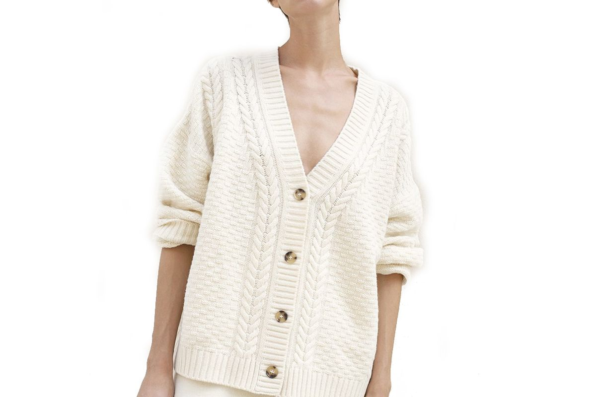 frankie shop cable knit cardigan
