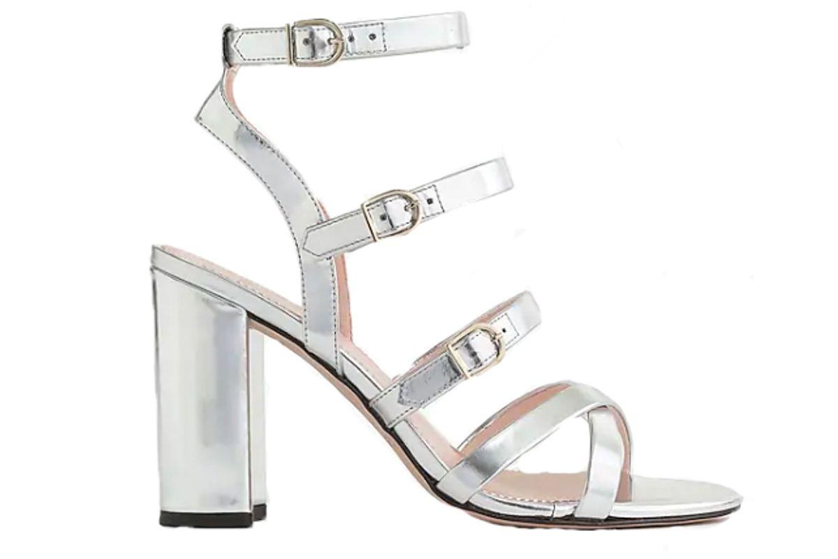 j crew buckled highheel sandals in mirror metallic