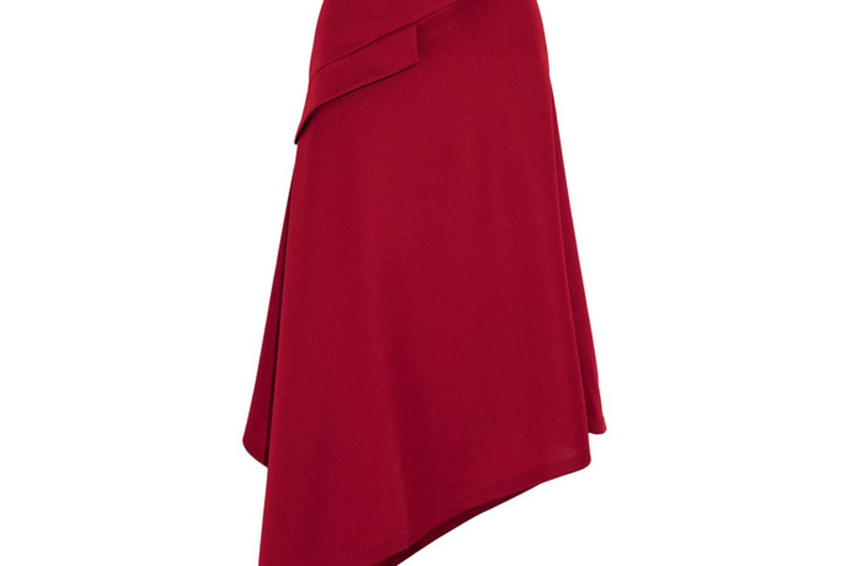 Asymmetric Jersey Midi Skirt