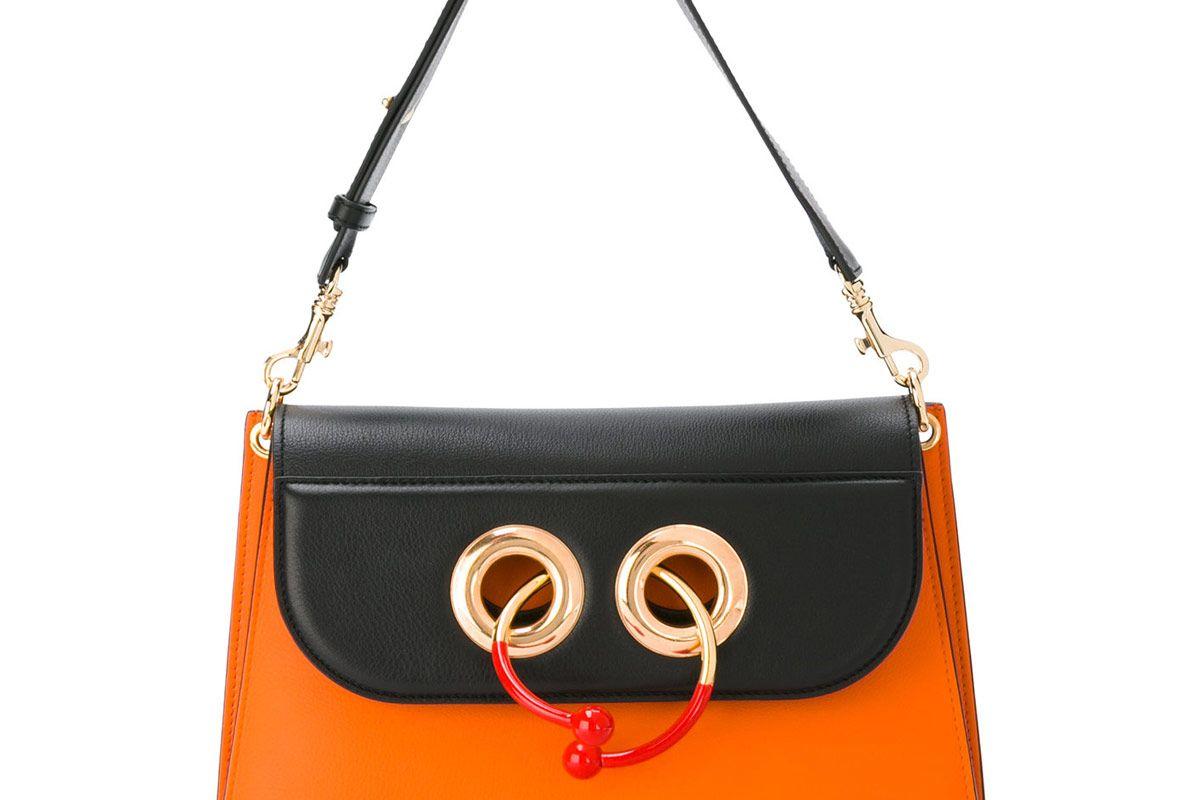 Medium Orange Black Pierce Shoulder Bag