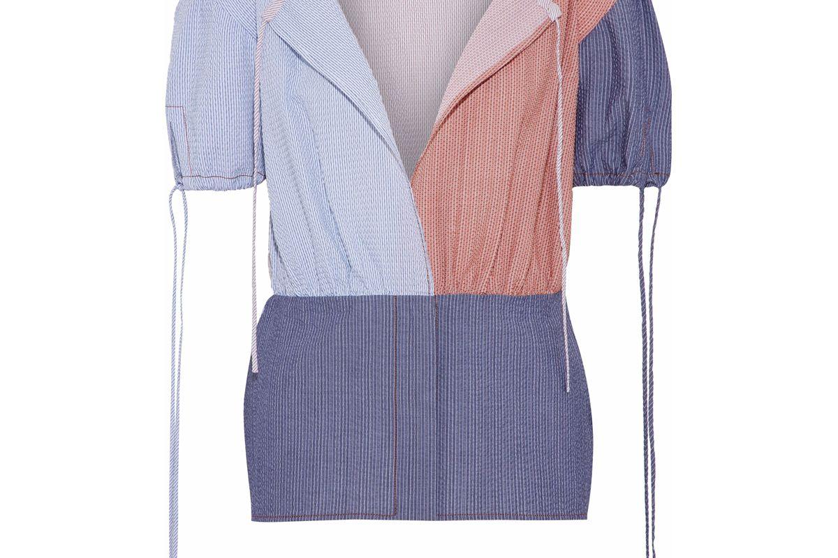 j.w. anderson pinstriped color block cotton seersucker top