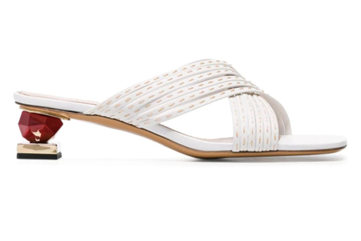 jacquemus white castana 35 crossover stack heel leather sandals