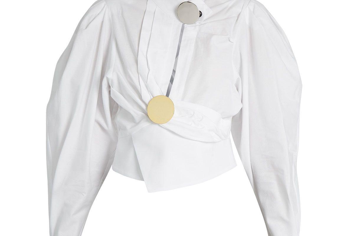 Gigot-Sleeve Wrap Cotton Blouse