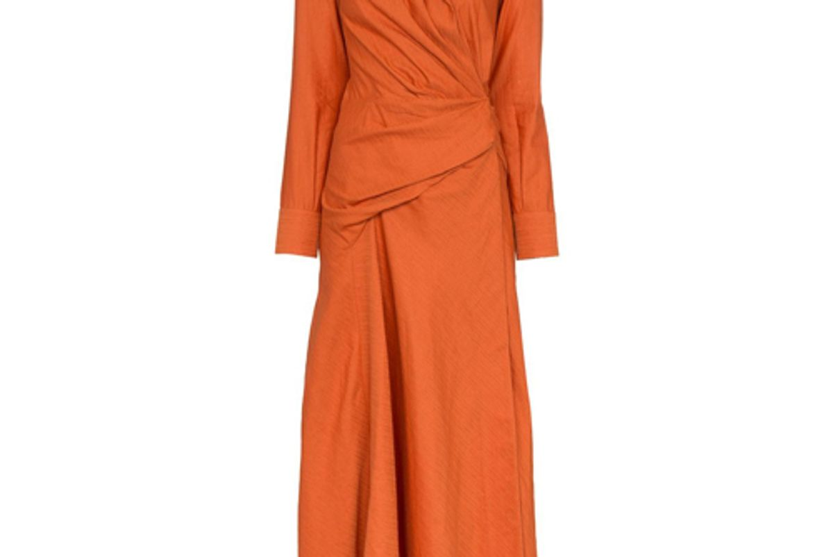 jacquemus orange wrap shirt dress