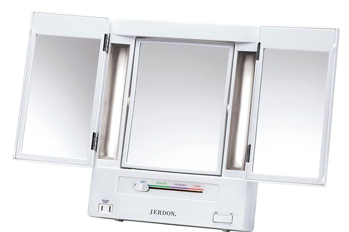 jerdon tri fold two sided lighted makeup