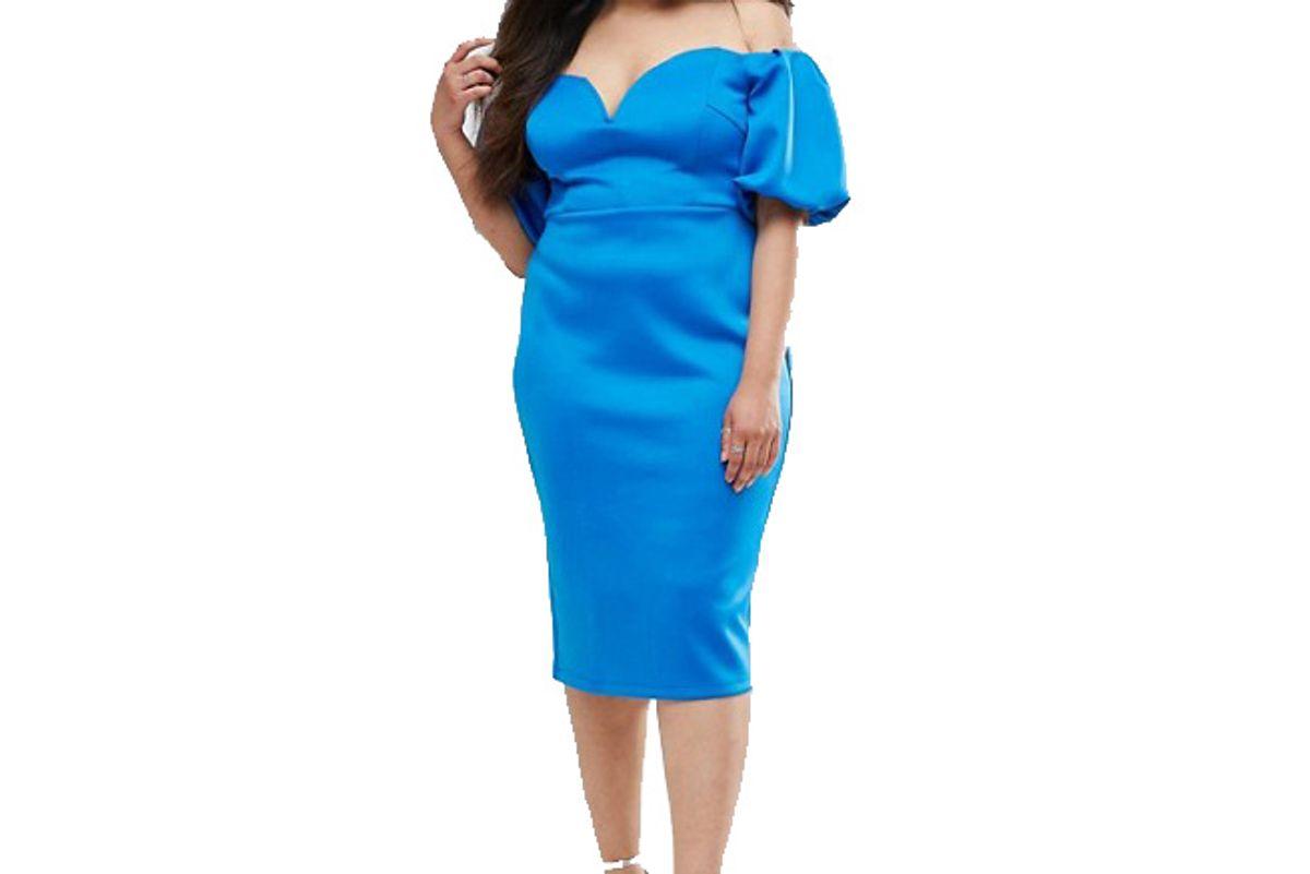 Curve Scuba Puff Sleeve Bardot Midi Dress