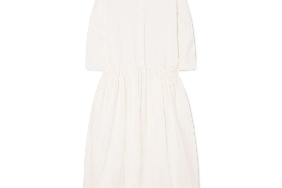 jil sander crinkled silk blend midi dress
