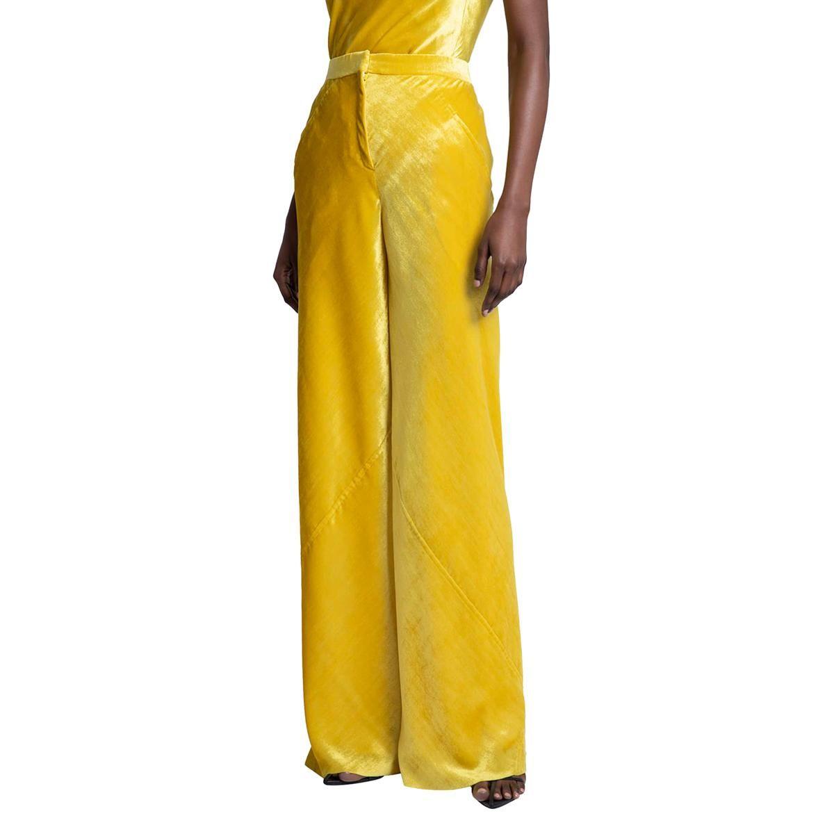 jil sander diagonal velvet wide leg trousers