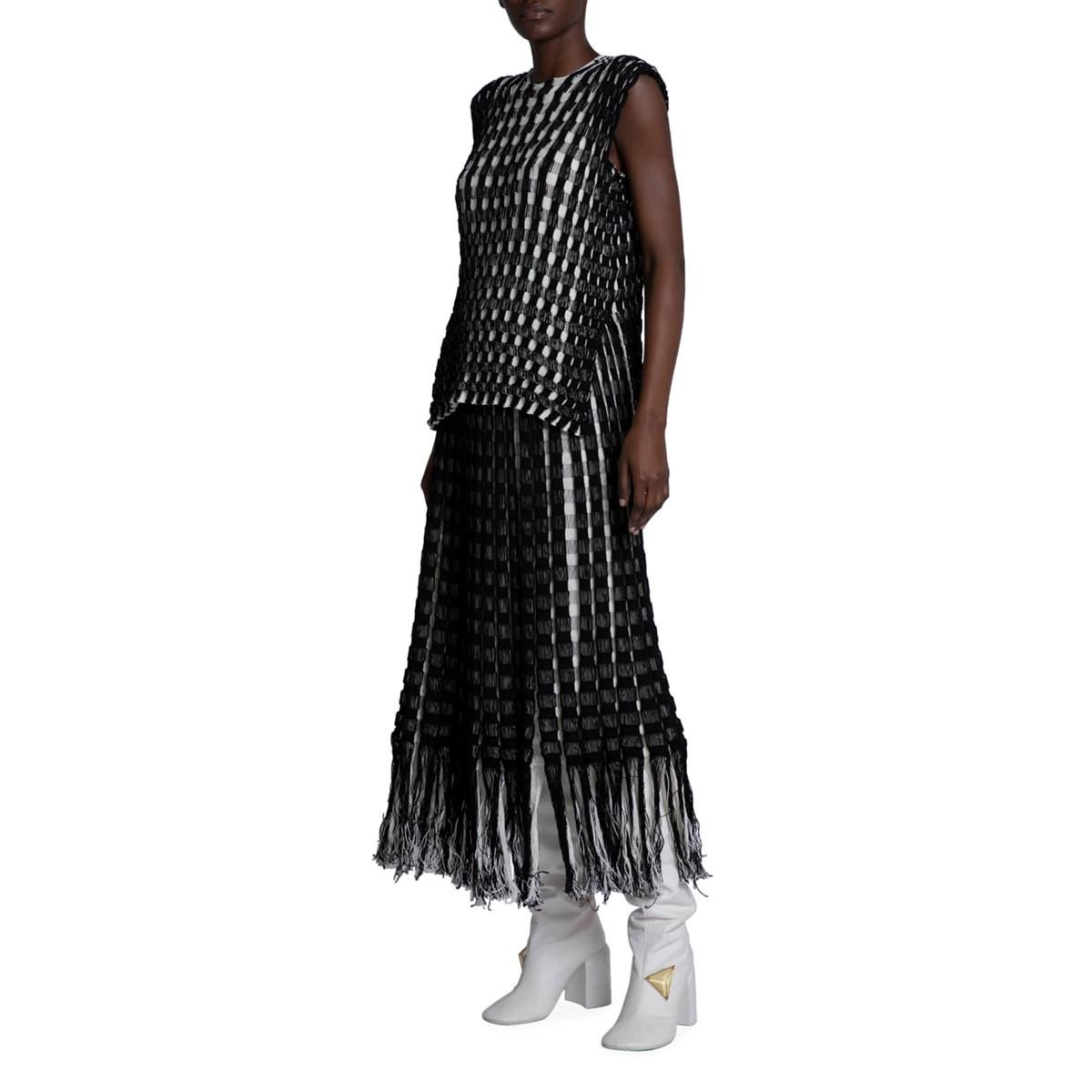 jil sander plaid woven skirt with fringe trim