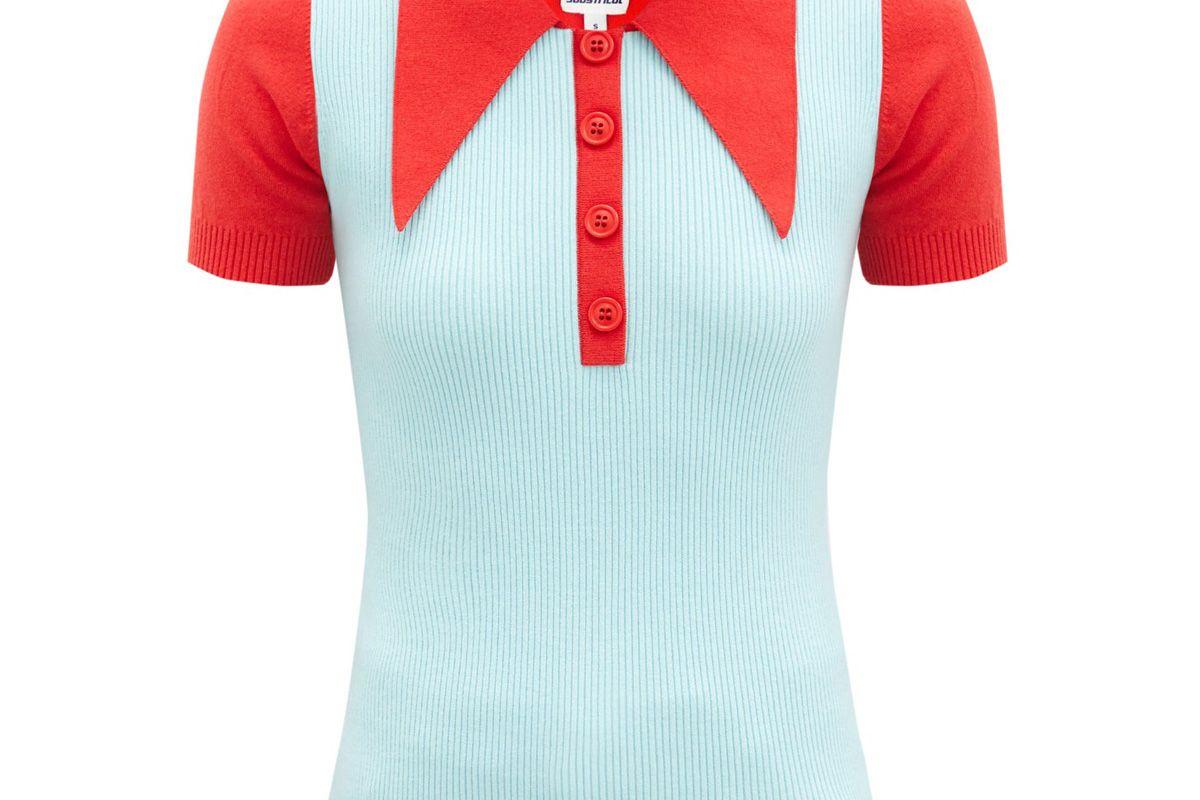 joostricot bi colour cotton blend polo shirt