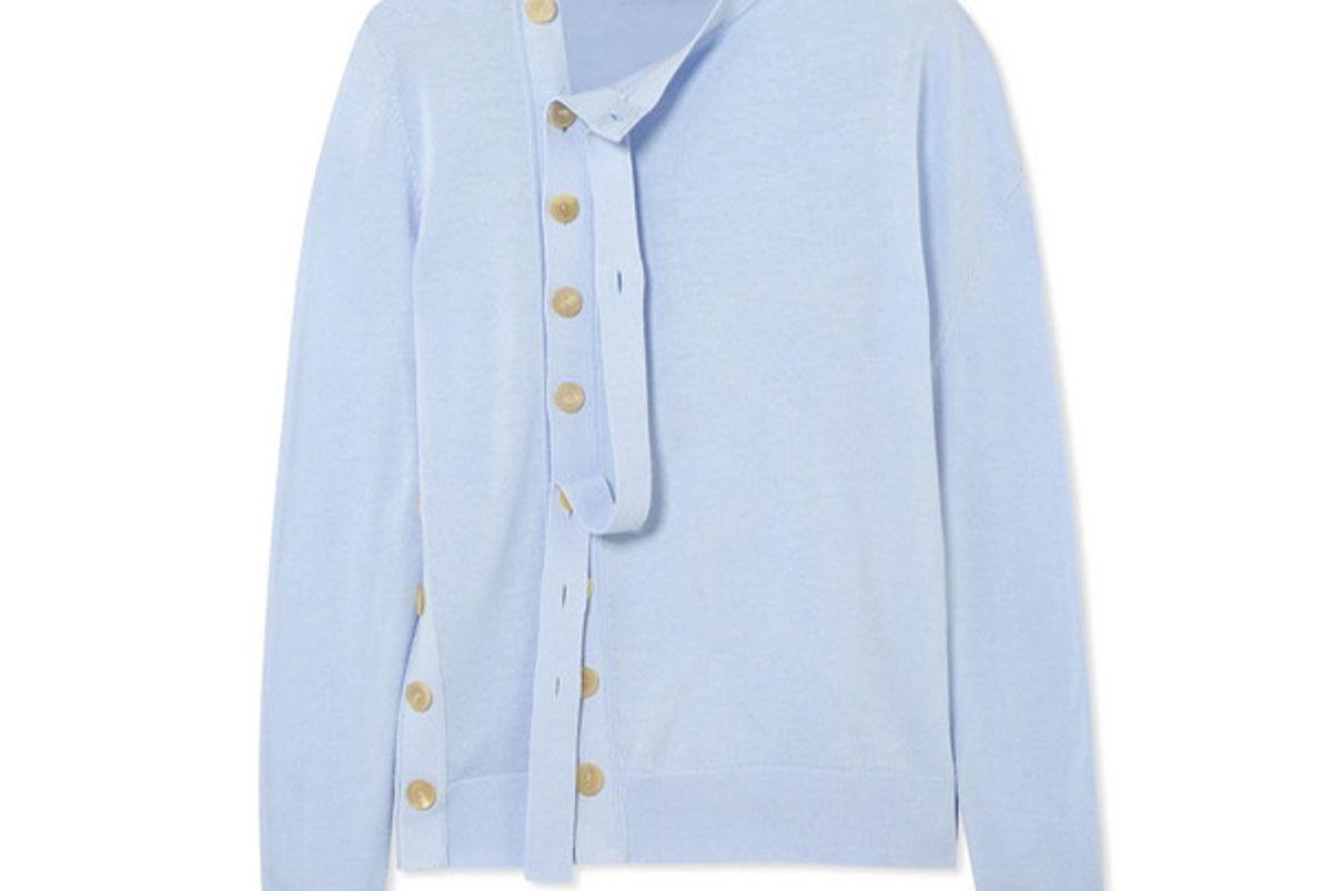 joseph asymmetric button embellished cotton cardigan