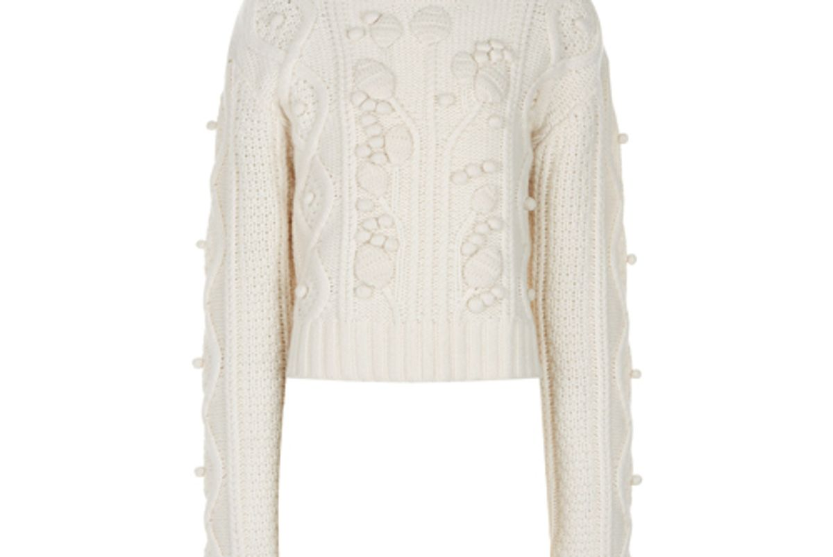 joseph limited cropped wool cable knit