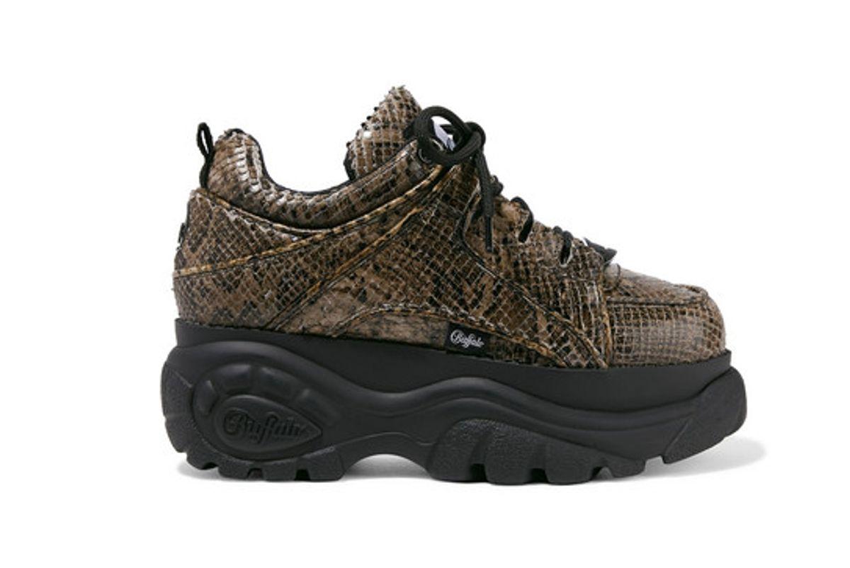 junya watanabe buffalo london python effect leather platform sneakers
