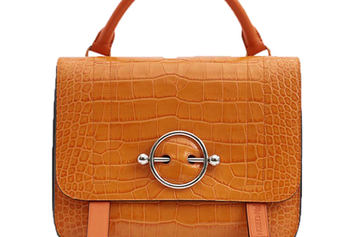 jw anderson disc croc embossed satchel in tangerine
