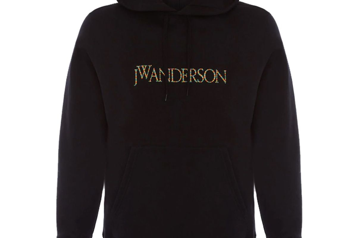 jw anderson logo embroidered cotton jersey hooded sweatshirt